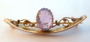 Antique 9ct Gold And Amethyst Brooch By AJS' Arthur Johnson Smith '.